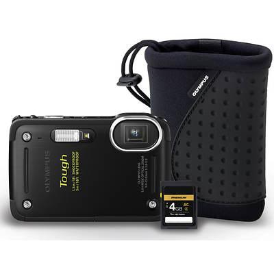 "Olympus TG-620 12MP 3"" LCD 5x Optical Zoom Digital Camera Bundle, 4GB SD Card and Case"