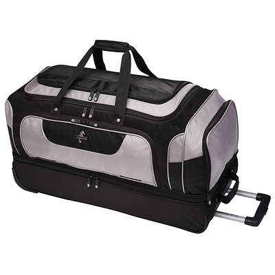 "Atlantic 30"" Drop Bottom Rolling Duffel Bag - Black/Grey"