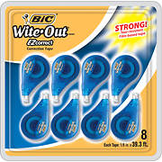 "BIC Wite-Out EZ Correct Correction Tape, 1/6"" x 39'3"", 8 ct. - White"