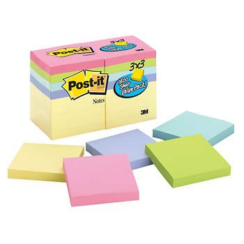 """Post-it Notes, 3"""" x 3"""", 100 Sheets per Pad, 18 pk. - Pastel"""