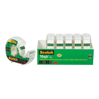 "Scotch Magic Tape in Refillable Dispensers with 3/4"" Core, 3/4"" x 650"", 6 pk. - Transparent"