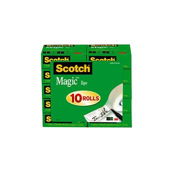 "Scotch Magic Tape with 3/4"" Core, 3/4"" x 1,296"", 10 pk. - Transparent"