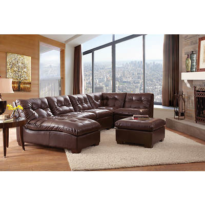Point South Furnishings Cadence 5-Piece Bonded Leather Modular Sectional with Ottoman - Chocolate Brown