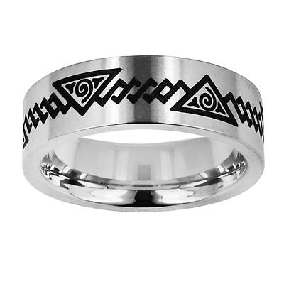 TATU by Novell Men's Egyptian Pyramid Band in Stainless Steel