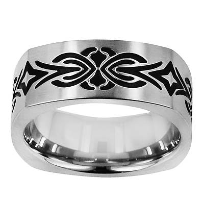 TATU by Novell Men's Contemporary Burst Squared Band in Stainless Steel