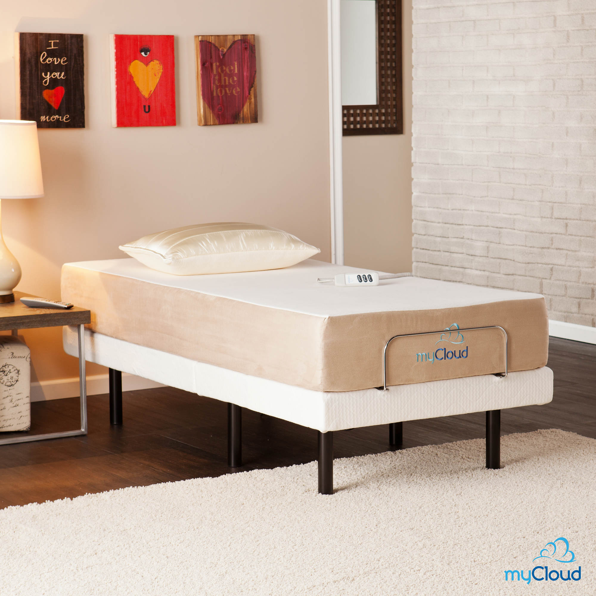 sei mycloud twin xl size adjustable bed frame with mattress