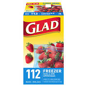 Glad Freezer 1-Gal. Plastic Zipper Bags, 4 pk./28 ct. - Clear Blue