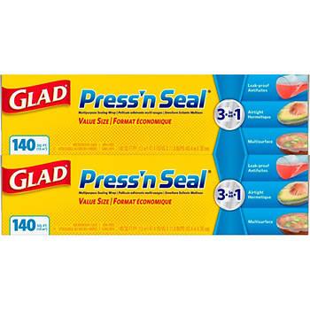 Glad 140 sq. ft. Press N Seal Plastic Wrap, 2 pk. - Clear