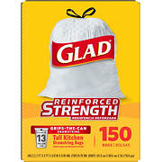 Glad 13-Gal. Tall Kitchen Drawstring Plastic Trash Bags, 150 ct. - Whi