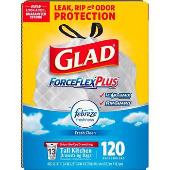 Glad 13-gal. ForceFlex OdorShield Drawstring Plastic Trash Bags, 120 ct. - White