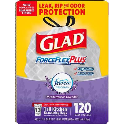 Glad 13-Gal. ForceFlex OdorShield Lavender Drawstring Plastic Trash Bags, 120-Count - White