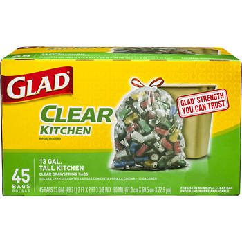 Glad 13-gal. Kitchen Drawstring Recycled Plastic Trash Bags, 45 ct. - Clear
