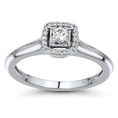 .15 ct. t.w. Round Diamond Halo Promise Ring in 10K White Gold