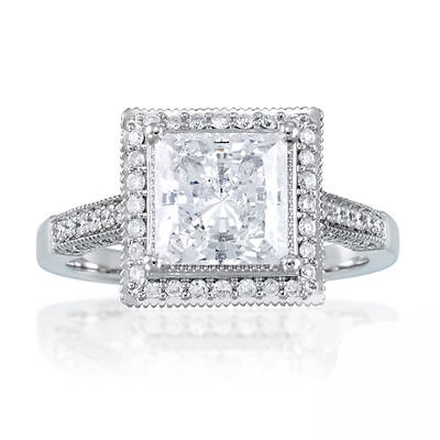 2.50 ct. t.w. Princess-Cut and Round Diamond Halo Engagement Ring in 14K White Gold