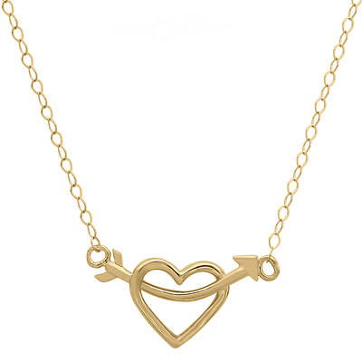 14K Yellow Gold Arrow Through an Open Heart Necklace
