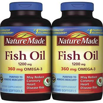 Nature Made 1,200mg Fish Oil Liquid Softgels, 2 pk./200 ct.
