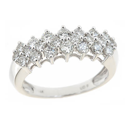 1.00 ct. t.w. Round Diamond Pyramid Ring in 14K White Gold