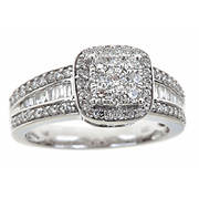 1.00 ct. t.w. Baguette and Round Diamond Split Shank Ring in 14k White