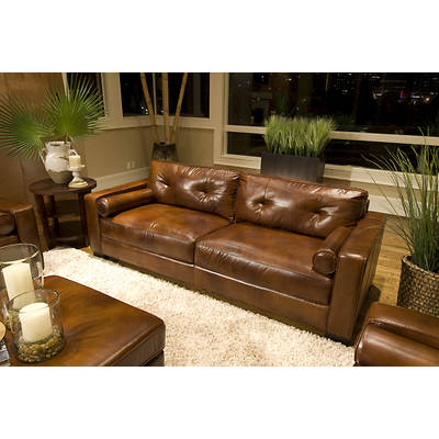 Elements Fine Home Furnishings Naples Top-Grain Leather Sofa - Rustic
