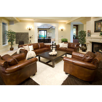 Elements Fine Home Furnishings Tuscany 4-Piece Top-Grain Leather Living Room Set - Rustic