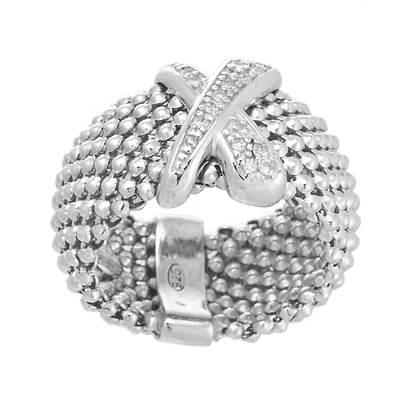 .15 ct. t.w. Round Diamond X Ring in Sterling Silver