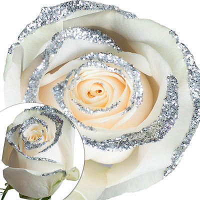 White Glitter Rose, 100 Count - Silver