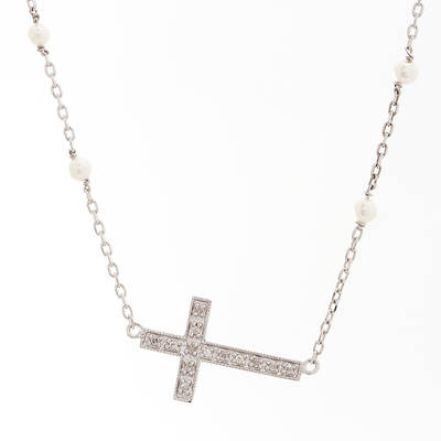 3mm White Cultured Freshwater Pearl and Diamond Accents Sideways Cross Necklace in Sterling Silver