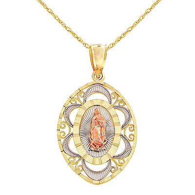 10K Tricolored Gold Our Lady of Guadalupe Oval Medal Necklace