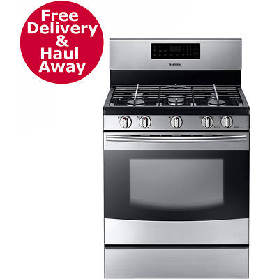 "Samsung 30"" Gas Range with Griddle, Continuous Matte Grates and 5.8-Cu. Ft. Oven - Stainless Steel"