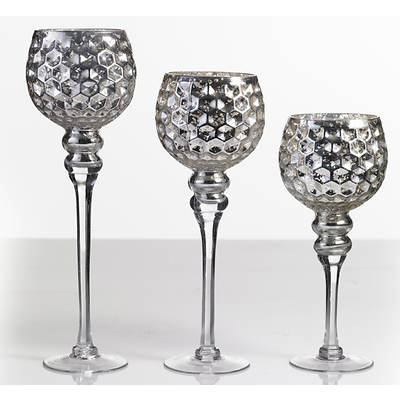 Mercury Glass Votives, Set of 3