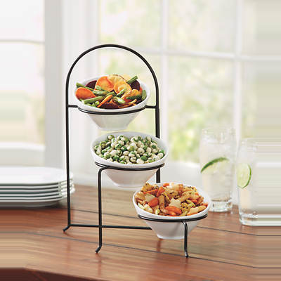 Living Home Slope Bowls, Set of 3 with Wire Stand