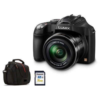 "Panasonic Lumix FZ70 16.1MP 3"" LCD 60x Optical Zoom 20-1200mm Lens Digital SLR Camera Bundle, 16GB SD Card, Bag"