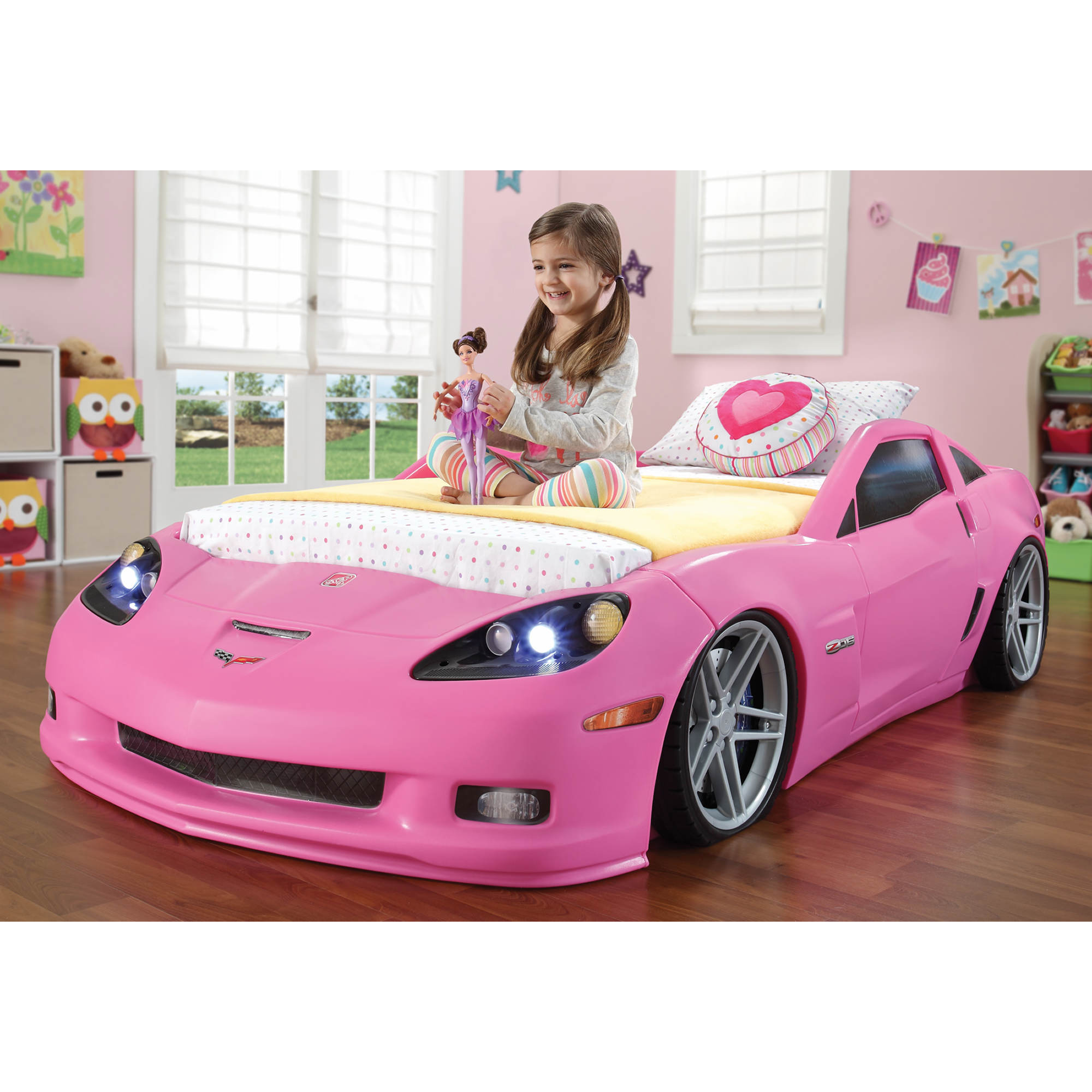 Step2 Convertible Toddler To Twin Pink Corvette Bed With