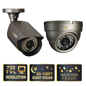 Q-See Premium 700TVL Bullet and Dome Cameras with 100' Night Vision, 2-Pk