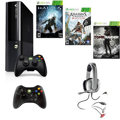 Xbox 360 250GB System Bundle with Assassin's Creed IV: Black Flag and 2 Bonus Games (Xbox 360)