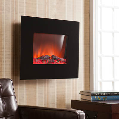 SEI Solace Wall-Mount Electric Fireplace - Black