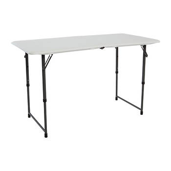 Lifetime 4' Adjustable Fold-In-Half Table - White Granite