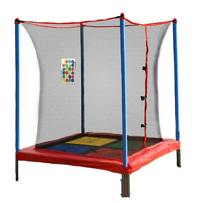 Skywalker Trampolines 5' x 5' Square Interactive Mini Trampoline with Enclosure