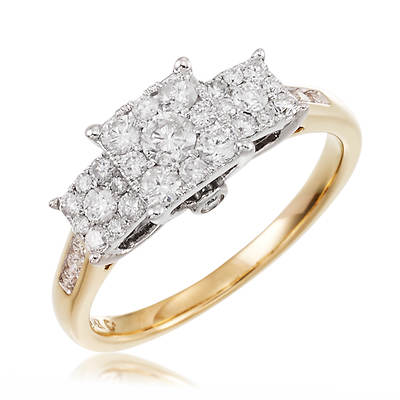 .75 ct. t.w. Round 3-Square Diamond Bridal Anniversary Ring Set in 14K Yellow Gold