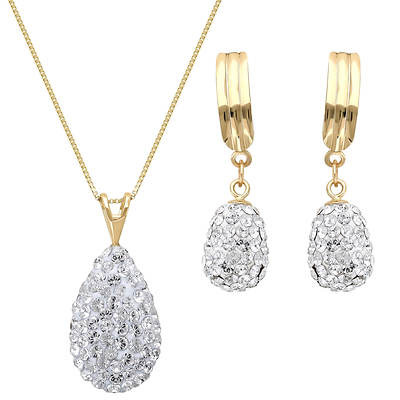 1.60 ct. t.w. Swarovski Crystal Elements Teardrop Necklace and Earring set in 14K Yellow Gold