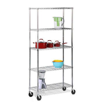 Honey-Can-Do 5-Tier Storage Shelves with Casters - Chrome