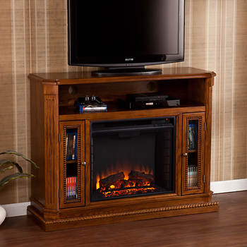 SEI Claribel Media Console Electric Fireplace - Rich Brown Oak