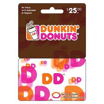 $25 Dunkin' Donuts DD Card