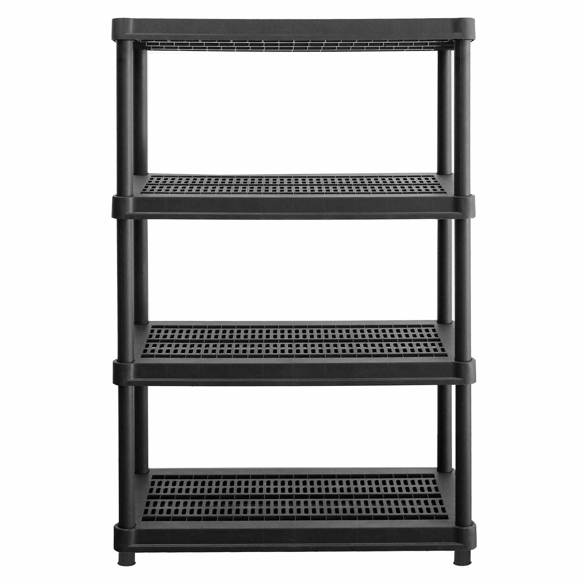 Resin Utility Cabinet Organize It 4 Tier 600 Lb Heavy Duty Resin Shelves Black Bjs