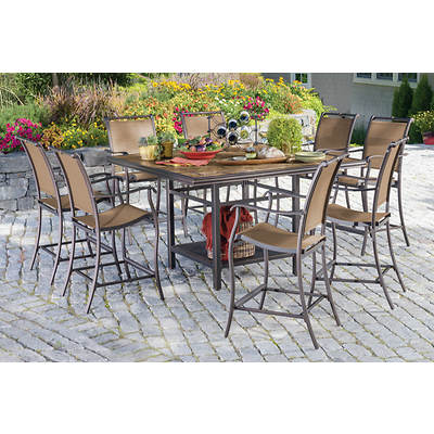 Living Home Outdoors Calabria 9-Piece High Dining Set