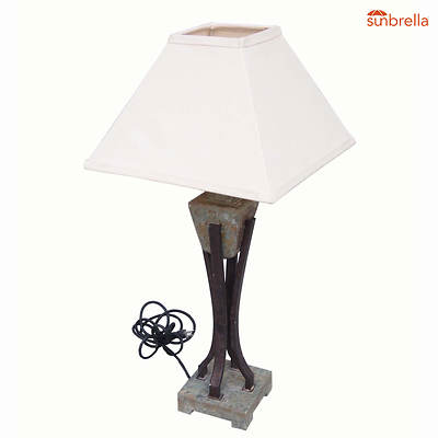 Living Home Outdoors Slate Outdoor Table Lamp with Sunbrella Shade