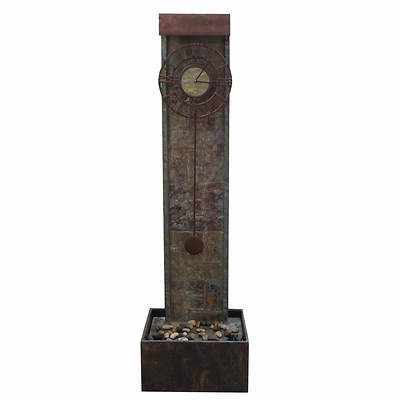 Living Home Outdoors Lighted Slate Clock Fountain Garden Statuary