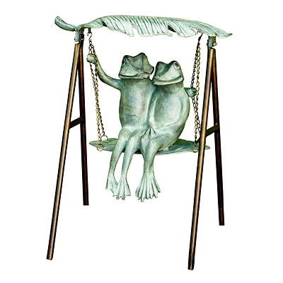 Living Home Outdoors Cast Aluminum Frogs on Swing Garden Sculpture