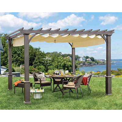 Living Home Outdoors 10' x 10' Pergola with Sunbrella Shades