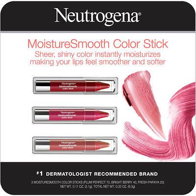 Neutrogena MoistureSmooth Color Stick- 3 Pk